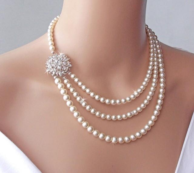 Bridal Necklace Brooch Necklace Wedding Necklace Pearl