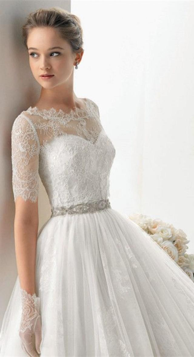Ivory vintage lace wedding dress for Ivory beaded wedding dress