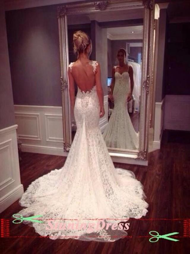 Lace Wedding Dress Open Back Boho Gown Vintage With Fishtail 2176231 Weddbook