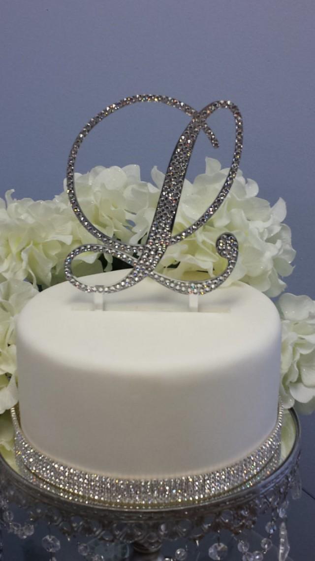 5 u0026quot  tall gold mirror initial monogram wedding cake topper