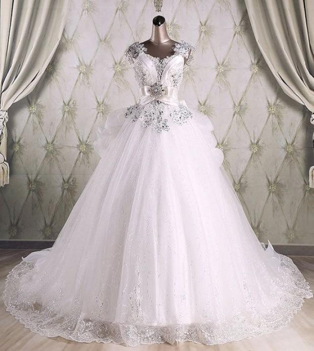 Real Sample High Quality Ball Gown Sequins Luxury Wedding Gown With ...