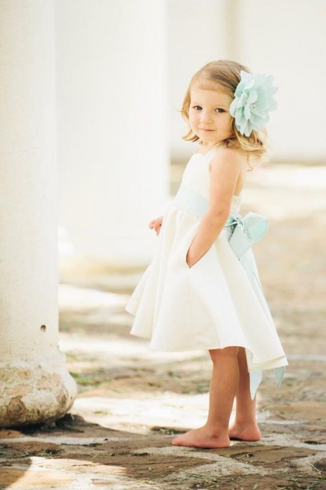 Ivory Flower Girl Dress / Sweetheart Neckline / Custom Color Sash ...