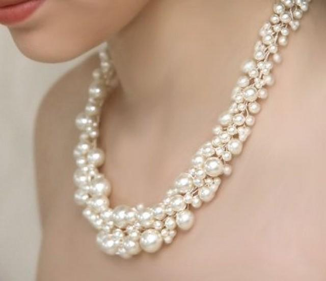 Bridal Pearl Statement Necklace And Pearl Cluster Dangly
