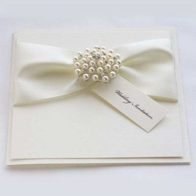 Satin Pearl Wedding Invitations With Luxury Satin Ribbons