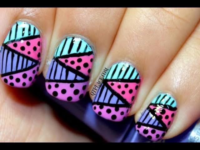 Mariage Ongles Designs - Zig Zag Nail Art Using Striping Tape ...