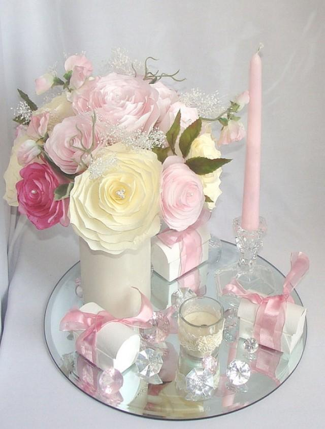 Romantic wedding decor pink bridal decor wedding for Baby shower flower decoration ideas