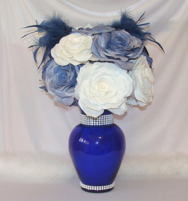 Navy Blue Wedding Centerpiece Bridal Decor Quinceanera Baby