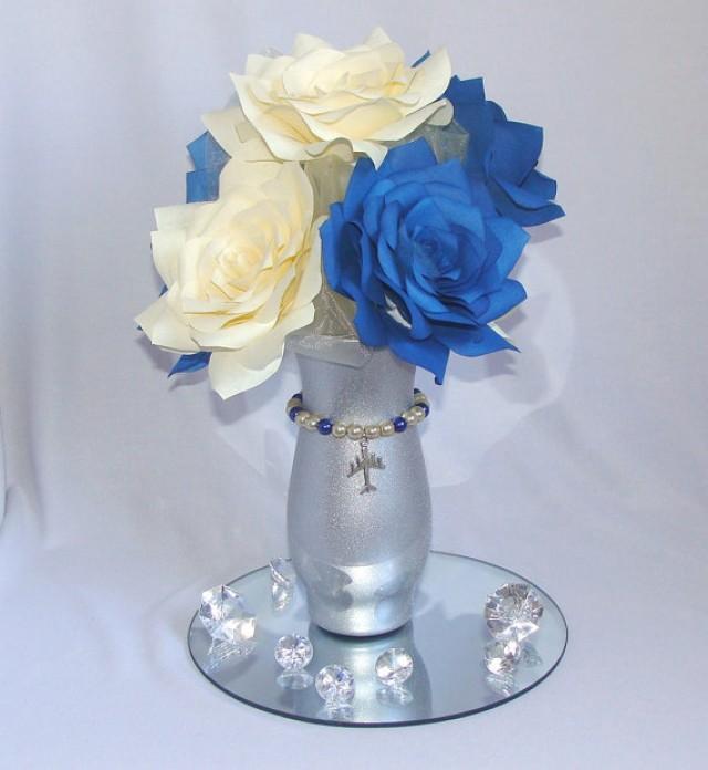 Aviation centerpiece navy blue wedding centerpiece arial for Decoration e