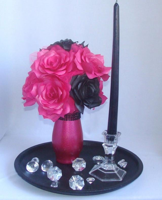 Pink And Black Wedding Centerpiece Hot Pink Bridal Decor Hot Pink