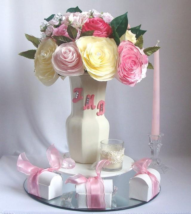 Personalized Centerpiece Romantic Wedding Decor Pink Bridal Decor