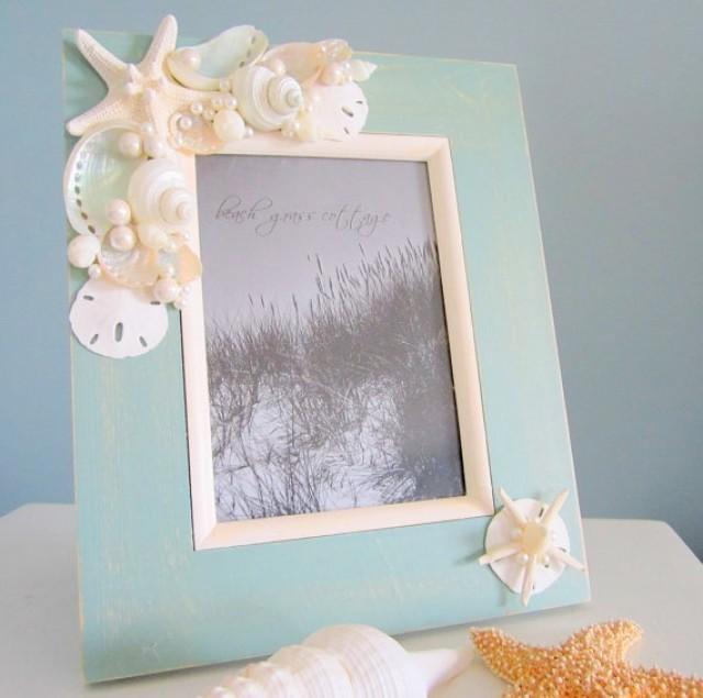 beach seashell frame nautical decor shell stafish frame in aqua 8x10 2182999 weddbook - Nautical Picture Frame