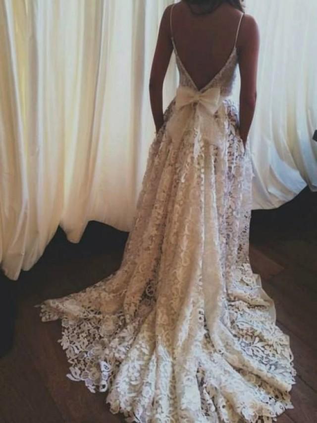 Lace wedding dress backless wedding dress boho wedding for T back wedding dress