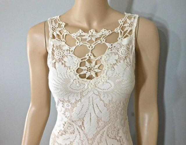 Vintage Style Bohemian WEDDING Dress Crochet Ivory LACE Wedding Cut Out Sheer Back S 2183597