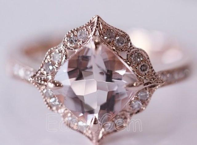 New Design Vintage Morganite And Diamond Ring Morganite