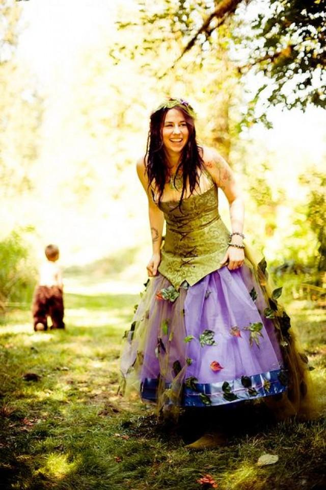 Fairy Wedding - Green And Purple Fairy Wedding Dress ...