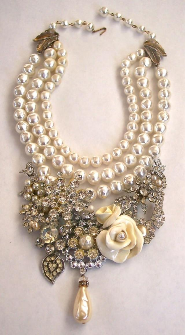 Pearls Vintage Rhinestone Necklace With Cream Roses Second
