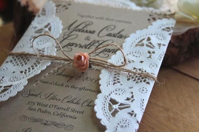 rustic // burlap & lace wedding invitation suite #2186150 - weddbook, Wedding invitations