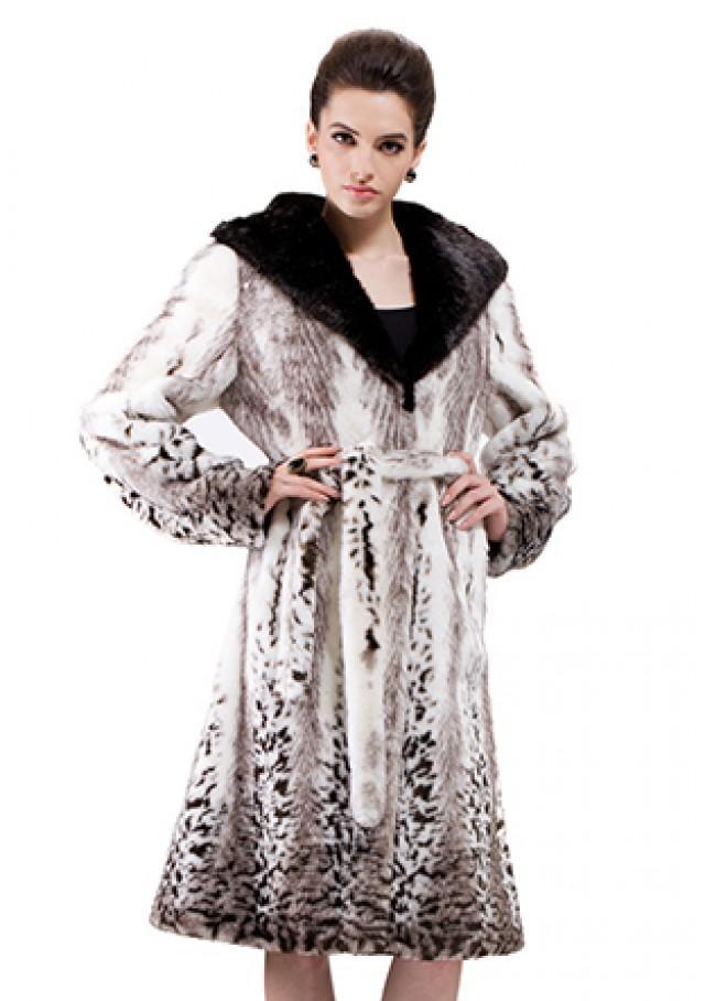 8ecefb2d796 Faux Pattern Fox Fur With Black Mink Fur Hat Women Long Coat ...
