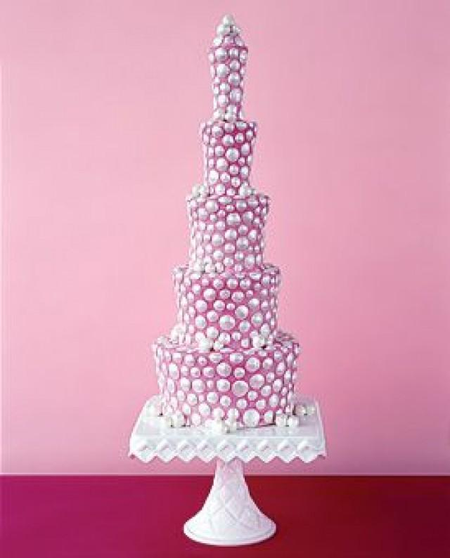 Fuscia Wedding Pink Wedding Cake With Silver Dots 2188981 Weddbook