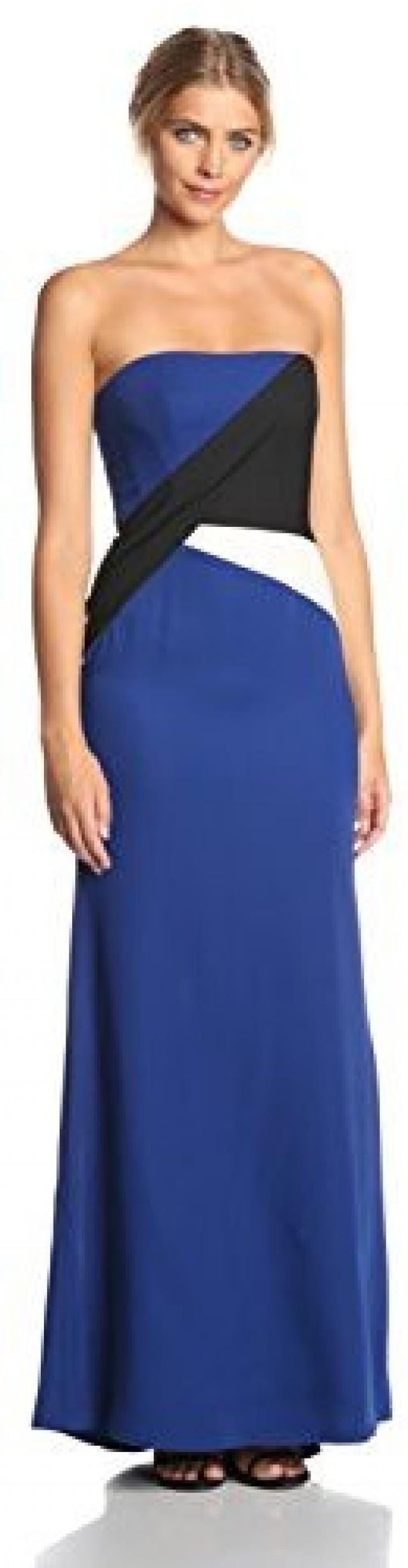 BCBGMAXAZRIA Women\'s Audrianna Strapless Colorblock Evening Gown ...