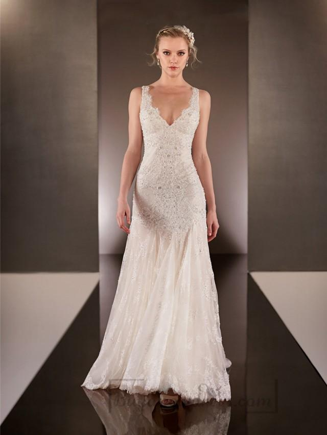 a7ff1185df Elegant Beaded Straps Plunging V-neck Lace Wedding Dresses With Square Open  Back  2192820 - Weddbook