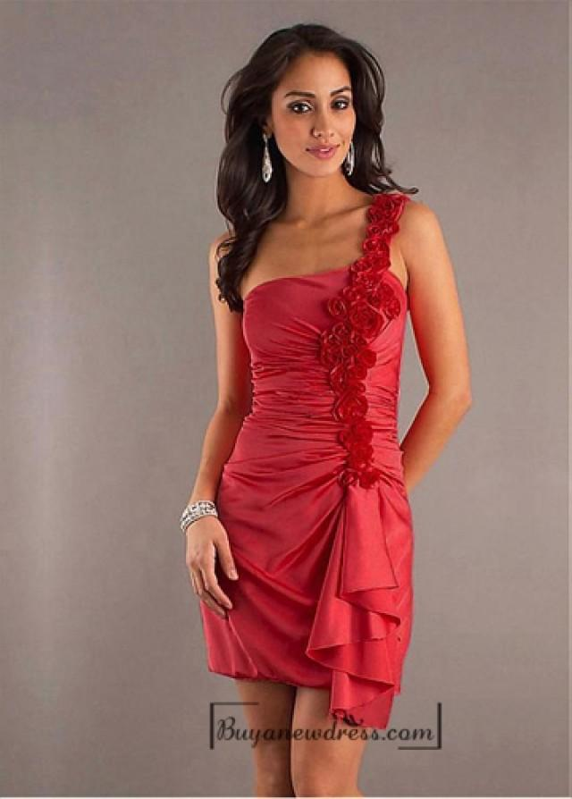look out for well known excellent quality Beautiful Stretch Satin Sheath / Column One-Shoulder Short ...