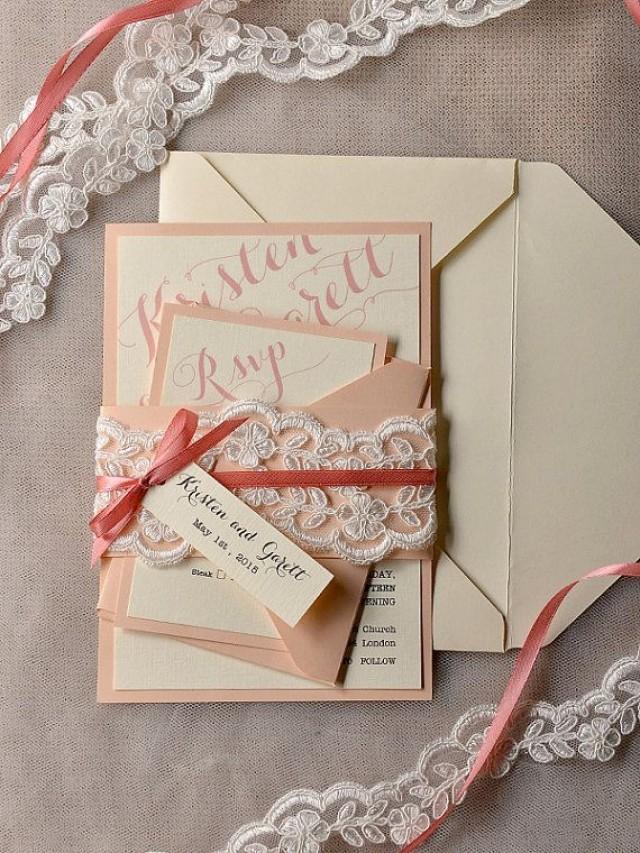 Coral And Peach Wedding Invitation Veil Lace Wedding