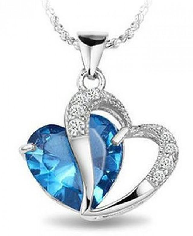 Best seller white gold rhodium plated pendant blue sapphire best seller white gold rhodium plated pendant blue sapphire heart necklace 18 2194709 weddbook aloadofball Image collections