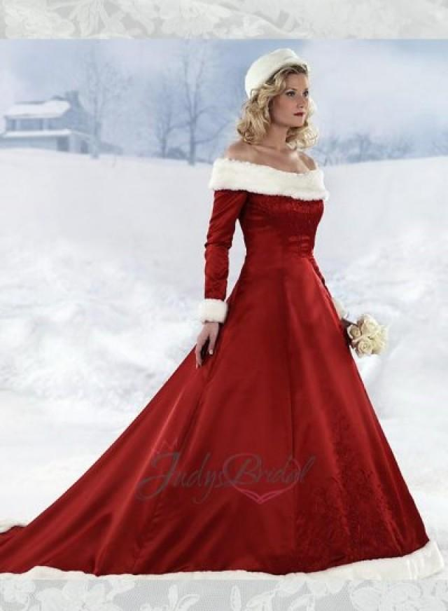 JOL244 Red Color With White Fur Band Santa Xmas Wedding Prom Dress ...