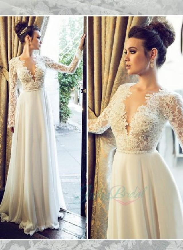 Jol222 sexy backless see through lace top long sleeves for Lace sleeve backless wedding dress