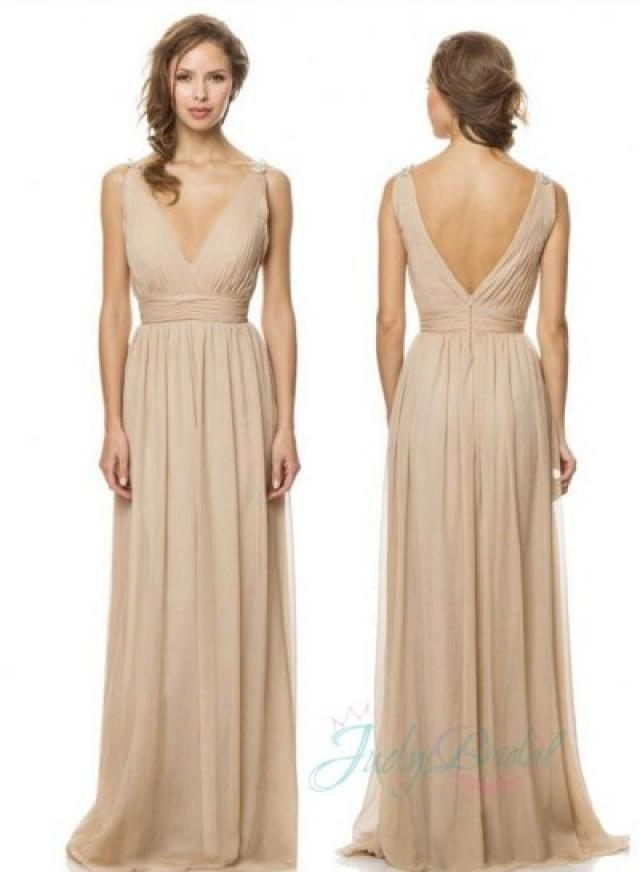 JM14012 Strappy V Neck Nude Color Long Chiffon Bridesmaid Gown Dress ...