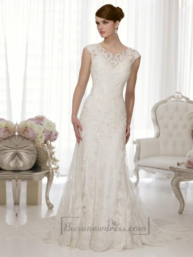 26e72d9761b7c Sheath Cap Sleeves Boat Neckline Low Back Wedding Dresses #2196241 -  Weddbook