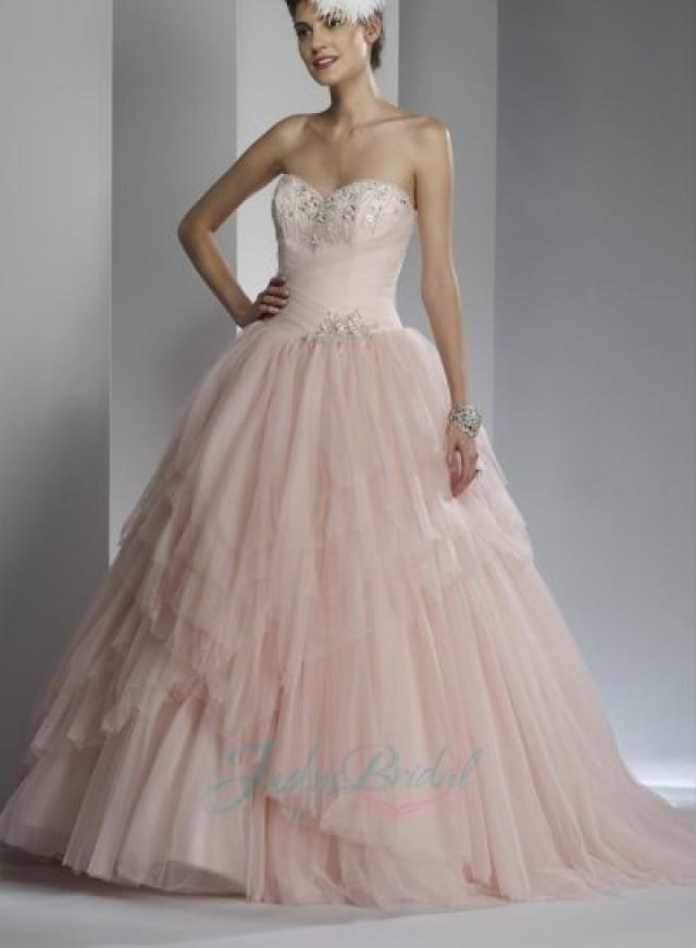 JOL245 Sweetheart Blush Pink Colored Tiered Tulle Ballgown Wedding ...