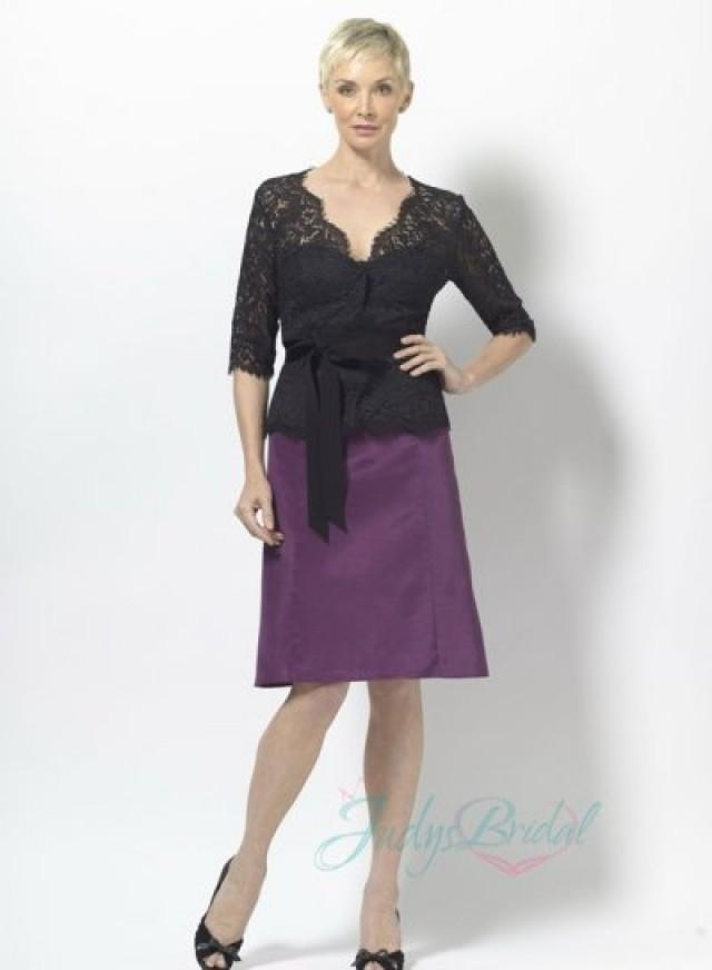 LJ14142 Black Lace Jacket Purple Column Short Mother Of Bride Dress ...
