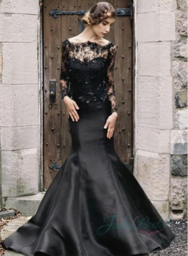 2015 Black Color Illusion Lace Long Sleeved Mermaid Wedding Dress 2200367