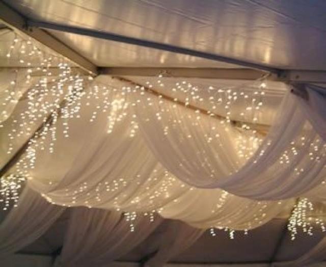 Winter Wedding Decor Sheer White Draped Fabric And Icicle Lights 2201036 Weddbook