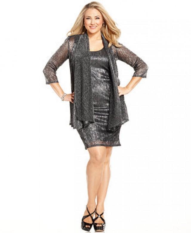 Rm Richards Plus Size Sleeveless Metallic Dress And Jacket 2202176