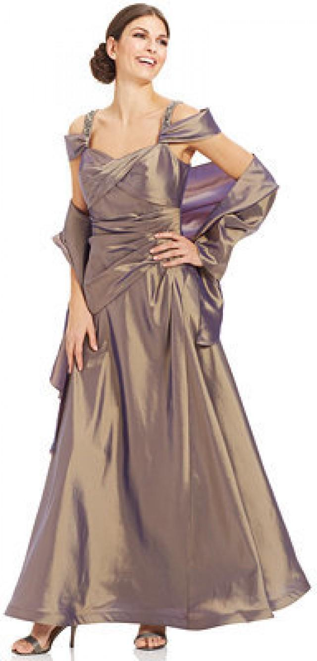 Alex Evenings Cold-Shoulder Pleated Gown And Shawl #2203025 - Weddbook