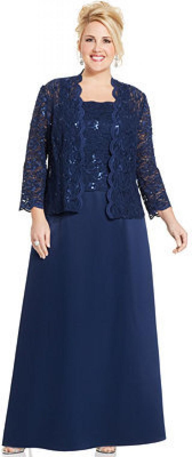 a416a6f58e Alex Evenings Plus Size Sequin Lace Gown And Jacket  2203030 - Weddbook