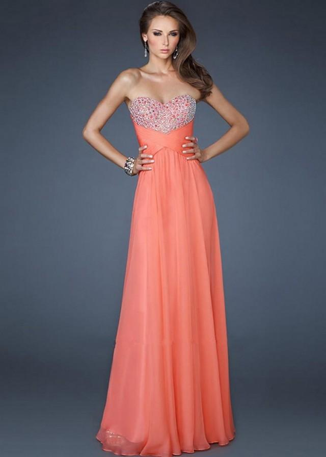 Coral Strapless Sequin Stones Adorned Bust Open Back Long Prom Dress