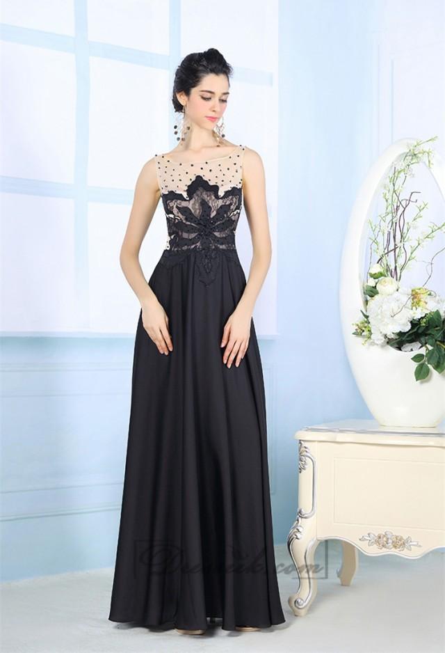 Black Illusion Boat Neckline Embroidered Floor Length Prom Dresses