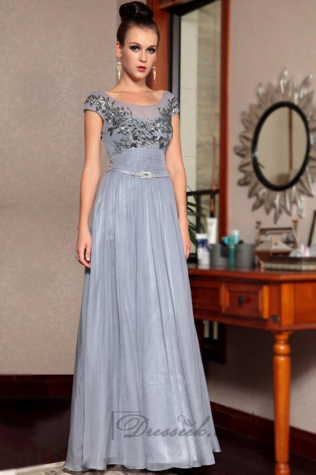 Cap Sleeves Bateau Neckline Beaded Bodice Long Formal Dresses ...