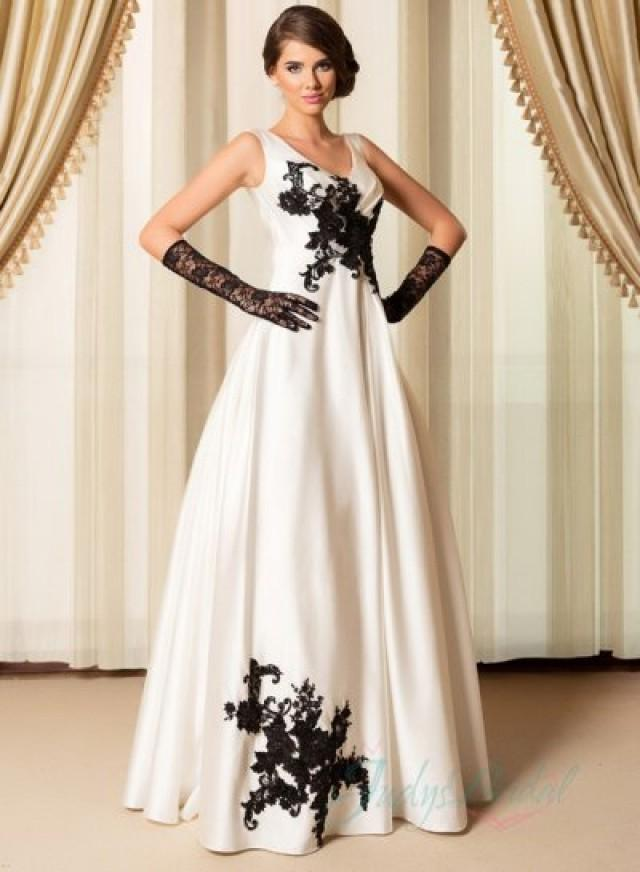 Simple Black Ivory Strappy V Neck Wedding Dress 2015 2204632