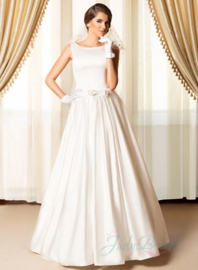 Simply chic bateau neck plain satin wedding dresses for Simply be wedding dresses