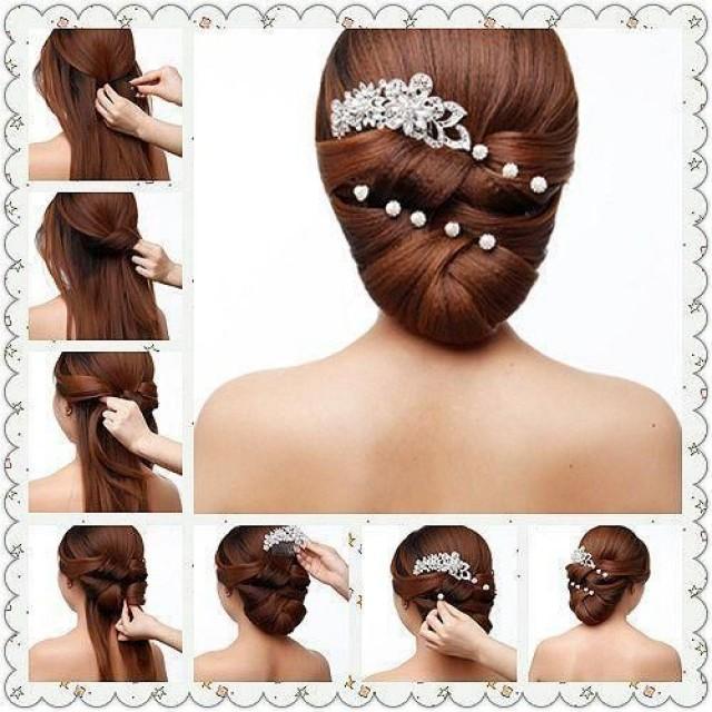 пошаговая свадебная прическа на длинные волосы