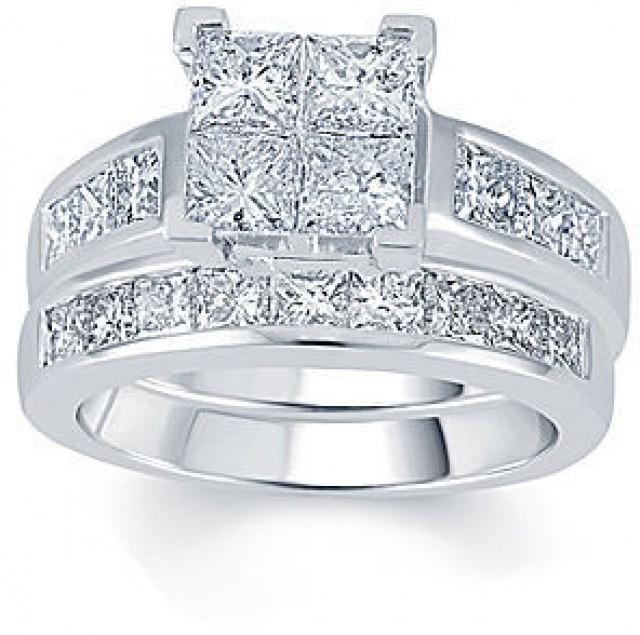 FINE JEWELRY 3 CT TW Diamond 14K White Gold Quad Princess Bridal Ring Set 2205743