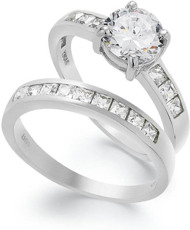 Cubic Zirconia Set Bands: B. Brilliant Sterling Silver Ring Set, Cubic Zirconia