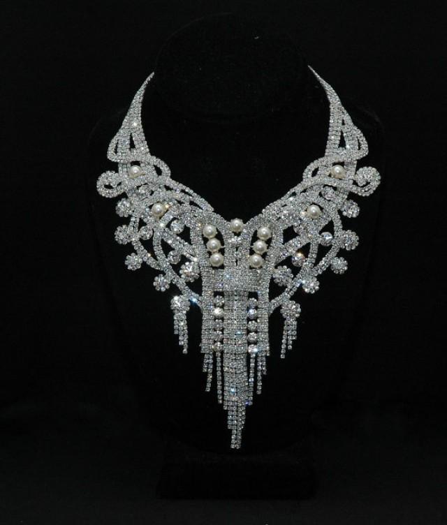 e263accebb610 Bridal Necklace, Art Deco Bridal Crystal Necklace Set ,Wedding ...