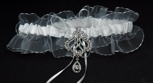 Rhinestone Wedding Garter Single Bridal Belt White Lace Crystal 2207917