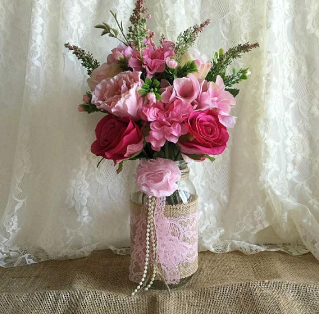 Pink Burlap And Lace Covered Mason Jar Vases Wedding